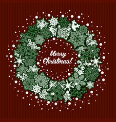 Christmas greeting card with wreath of snowflakes vector