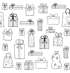 Christmas pattern with hand drawn gift boxes vector image