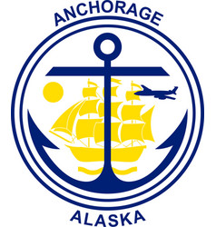 Coat of arms of anchorage in alaska usa vector