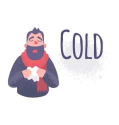 Cold flu banner ill virus sick concept vector