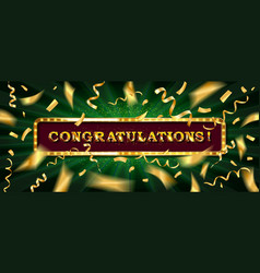 Congratulations banner with glitter decoration vector