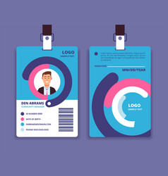 corporate id card professional employee identity vector image
