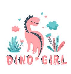 Cute dinosaur card with animal vector