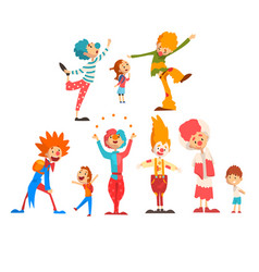 cute funny clowns and happy kids set boys and vector image
