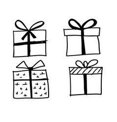 doodle gift icon vector image