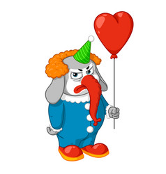 Elephant evil clown with a balloon vector