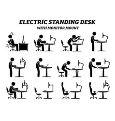 ergonomic electric standing desk table vector image