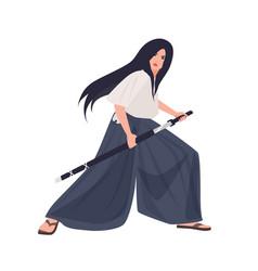 female japanese warrior or samurai girl young vector image
