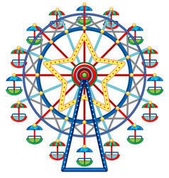 Ferris wheel with star in middle vector