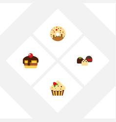 Flat cake set of dessert cake doughnut and other vector