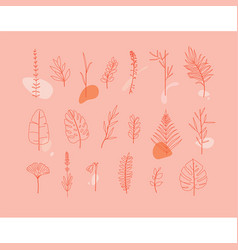floral flat leaves set coral vector image