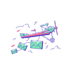 Flying plane with letters vector