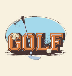 Golf club label with stick vector