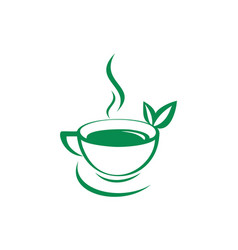 green tea drink logo icon vector image