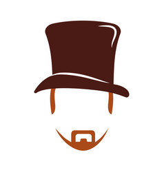 hair hipster style with gentleman hat model vector image