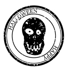 Halloween stamp postal icon skull silhouette seal vector