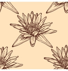 Hand drawn water lilies seamless on a background vector