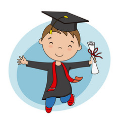 Happy boy in graduation suit and diploma vector
