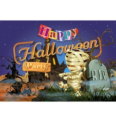 Happy Halloween party mummy background vector image