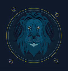Head lion king colorful in circular frame vector