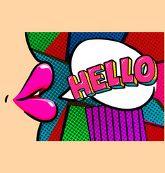 hello message in pop art style vector image