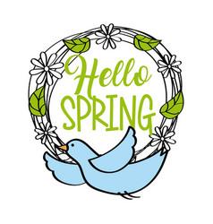 hello spring greeting card blue bird wreath floral vector image