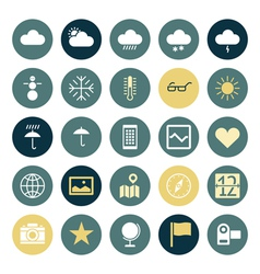 Icons plain round ui program vector