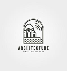 Islamic architecture logo line art icon symbol vector