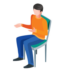 isometry a man sits on a chair and gestures vector image