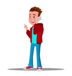 Kid boy talking on mobile phone isolated vector