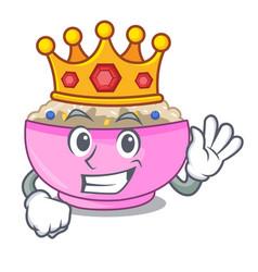 King cooked whole porridge oats in cartoon pan vector