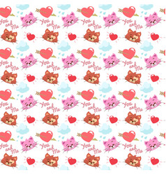 kitty pattern with heart vector image