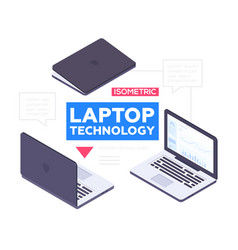 laptop technology - modern colorful vector image