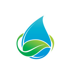 Leaf waterdrop eco logo vector