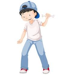 Little boy holding bone in hand vector image
