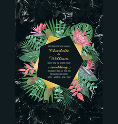 luxury tropical wedding invitation vector image