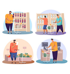 man and woman doing shopping with cart or trolley vector image