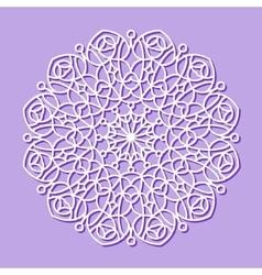 Mandala white lace ornament vector