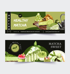 Matcha sweet banner design with cupcake vector
