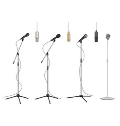 Mic stand realistic music microphones sound vector