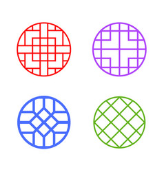 Modern round korean pattern window frame vector