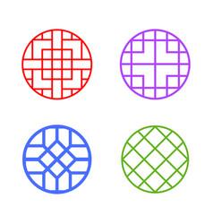 modern round korean pattern window frame vector image