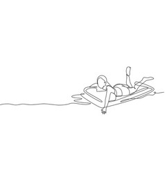 One continuous line drawing young happy beauty vector