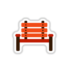 Park seat in paper sticker style vector
