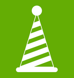 party hat icon green vector image
