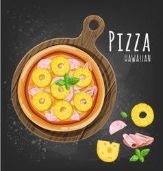 Pizza hawaiitan vector image