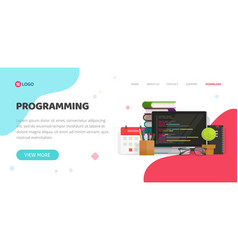programming or coding service agency website vector image