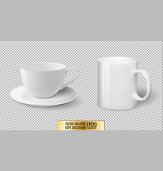 realistic ceramic white cup and mug vector image