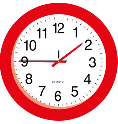 red clock on a white background vector image