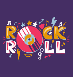 retro rock n roll label vector image